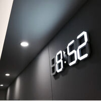 Digital 3D LED Wall/Desk Clock Snooze Alarm Big Digits Auto Brightness USB 2020