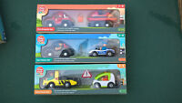 Toys Police Car Fire Engine Boat Rescue Vehicles for Wooden Railway Train Track