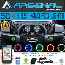 No.1 5D LED RGB Million Color App Bluetooth Halo Fog Lights Strobe Jeep Wrangler