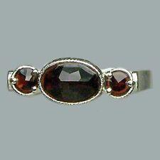 Bohemian Rose Cut Garnet Sterling Silver Ring # SR-560 with Jewelry Certificate