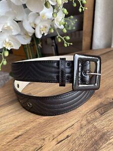 Black Leather Jaeger Waist Belt Size M Medium