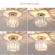 NEW Design Genuine Crystal Hallway Flush Ceiling Light Chandelier Free E27 Bulb