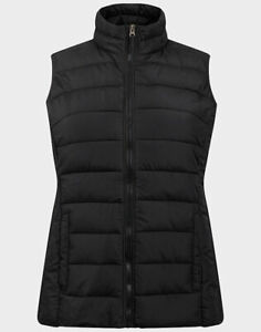 LADIES QUILTED PADDED GILET / BODYWARMER BLACK NEW