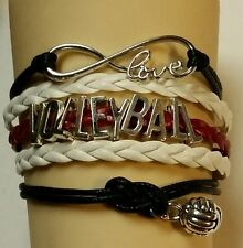 "VOLLEYBALL LEATHER CHARM BRACELET-MAROON/WHITE/BLACK 6 1/2""-8 1/2""-SPORTS#173"