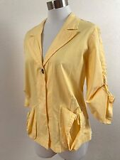 XCVI, Bright Yellow Spring Summer Shirred, Shirt / Light Layering Jacket, EUC, M