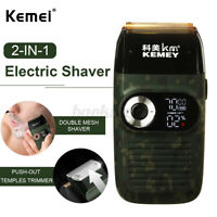 2in1 Kemei Hair Clippers Professional Cordless Shaver Electric Men Beard Trimmer