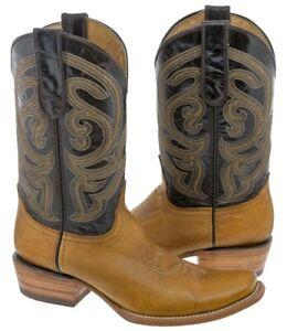 Men's Honey Brown Plain Genuine Leather Cowboy Boots Western Dubai Toe
