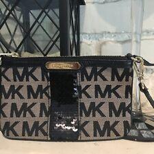 Michael Kors Womens Wristlet Black Beige Sequin Small