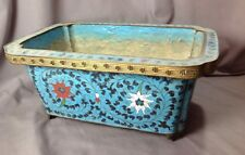 Large Vintage Chinese Cloisonné Turquoise Antique Floral Enamel Foot Old Planter