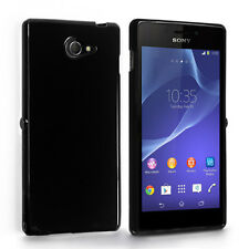 TPU Gel iskin Jelly Case Cover for Sony Xperia M2 - Black