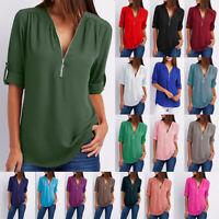 Summer Women V-Neck Zipper T Shirt Loose Casual Blouse Short Sleeve Tunic Tops
