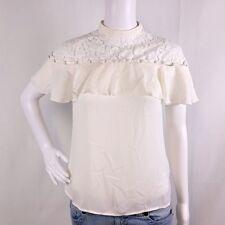 NWT Express Womens sz XS Ivory Lace Floral Mock Neck Ruffle Cap Sleeve Blouse