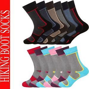 Mens Womens Hiking Socks Ladies 3 & 6 Pairs Walking Cushioned Long Boot Sock