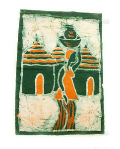 Batik African Mural Hanging Scene Of Village Of Togo