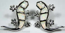 Quality White Fire Opal Inlay Solid 925 Sterling Silver Gecko Post Earrings
