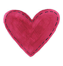 Folk Art Red Hearts 25 WALLIES Stiched Look Cutouts Heart Stickers Decals Love
