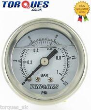 """Torques Analog Fuel Pressure Gauge 1/8"""" NPT  0-1 BAR / 0-15 PSI Fluid Filled"""