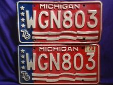 1976 Michigan MI License Plates Pair Matching  2 PaiWGN803 Plate Red White Blue