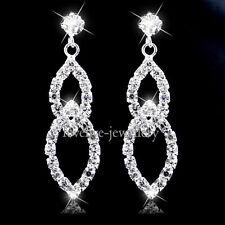 Long Crystal Drop Earrings Diamante Bridal Rhinestone Silver Dangle Wedding Prom