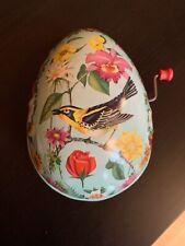Mattel Tin Easter Egg Toy Windup Musical Blue Bird Flowers Litho Vintage 1954
