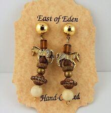 Gold Zebra 3D hand beaded earrings