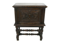 Antique Breton Cabinet Ornate Hand Carved Wood Impressive Nightstand Side Table