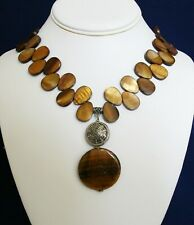 Brown Mother of Pearl Tiger Eye Pendant Necklace