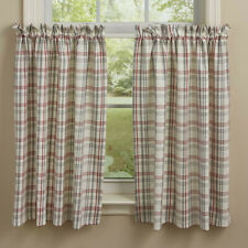 """1 pair Farm Yard White Red Gray Plaid Country Cotton Unlined Tiers 72"""" x 36"""""""