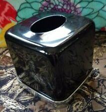 Metal Black & Silver Square Tissue Box Cover Holder