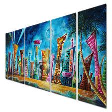 Metal Wall Art Miami Night Life Megan Duncanson Abstract Cityscape Beach Decor