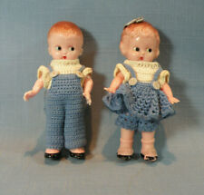 Knickerbocker Girl And Boy Dolls, Plastic, Vintage, Hand Crocheted Clothes