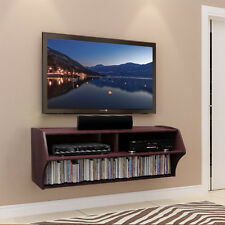 Brown Floating Wall Mounted TV Stand Console With Storage Shelf Media Cabinet