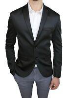 Giacca uomo Class sartoriale nero in raso slim fit blazer elegante cerimonia