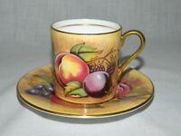Aynsley Orchard Fruit Demitasse Tea cup & Saucer Signed Brunt Jones Teacup