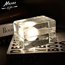 Glass Ice Block Cube Table Lamp Modern Desk Lighting Night Lights For Home Decor