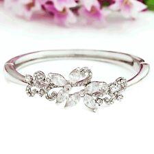 White Gold Plated Floral Bridal Wedding Bangle Use Swarovski Crystals Gift Boxed