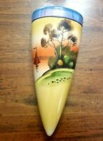 Wall Pocket Vase Hand-painted Ceramic Lusterware Made In Japan