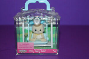Calico Critters Baby Dog in Blue Swing in Carry Case