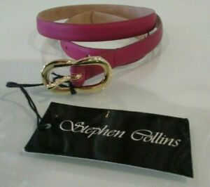 "STEPHEN COLLINS Slim Leather Belt Gold Buckle JUNIPER PINK  XS 26"" W BNWT €66"