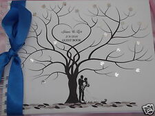 PERSONALISED WEDDING GUEST BOOK ~ Love tree with bride and groom design  BOXED