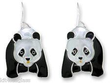 Zarah Zarlite Chinese Panda Bear EARRINGS Sterling Silver Plated - Gift Boxed