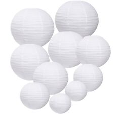 10 PCs White Mix Size Round Paper Lanterns Lamp Birthday Wedding Party Decor