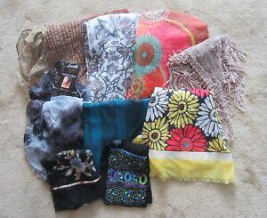 Lot 9 Women's Scarves - ANN TAYLOR, CHICO'S, LAVELLO, TALBOTS - Multi-Colors