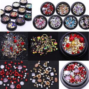 3D Nail Art Rose Rhinestones Jewelry Gems Mix Decoration Glitter Nails Tools DIY