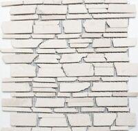 Mosaik Fliese Marmor Naturstein hellbeige Brickmosaik Biancone MOS40-0200