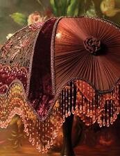 Victorian Portobello Embroidered Velvet Burgundy Lamp Shade,12'' x 17''