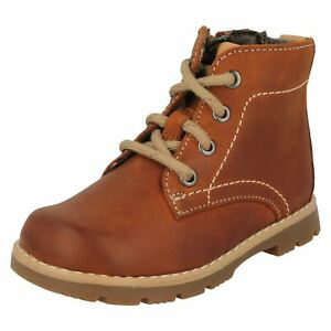 Boys Clarks Comet Rock Infant Tan Leather Casual Boots - F & G Fittings (4-6.5)