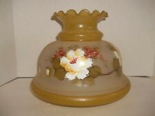 "Vintage Quoizel Student Hurricane Oil Lamp Shade Hand Painted Glass 6.75"" Fitter"