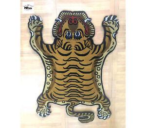 Tibetan Tiger Rug Carpet Beige Wool Handmade in Nepal 100 Knot 3 sizes
