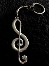 Large Music Note Keyring Key Chain Silver Musical Treble Clef love UK
